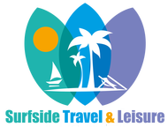Surfside Travel & Leisure logo - green, blue, and purple surf boards